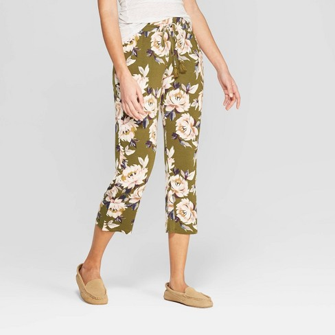 Women's Floral Print Beautifully Soft Crop Pajama Pants - Stars Above™ Green - image 1 of 2