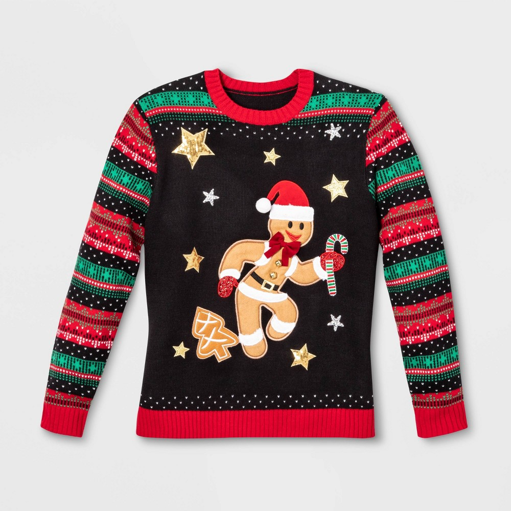 Image of Gender Inclusive Gingerbread Long Sleeve Sweater - 33 Degrees - Black L, Adult Unisex, Size: Large