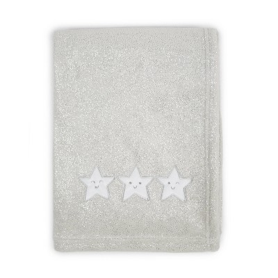 Tadpoles Star Applique Plush Baby Blanket - Silver