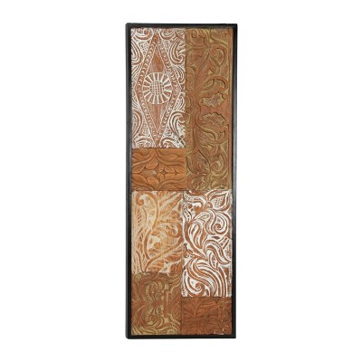 "17"" x 48.5"" Large Rectangular Reclaimed Teak Wood Wall Art Panel with Embossed Patchwork Design - Olivia & May"