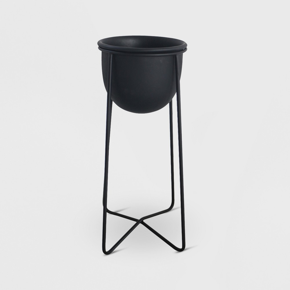 23 Metal Planter With Stand Black - Project 62