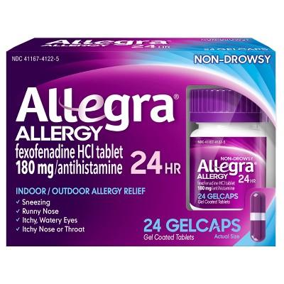 Allegra 24 Hour Allergy Relief Gel caps - Fexofenadine Hydrochloride