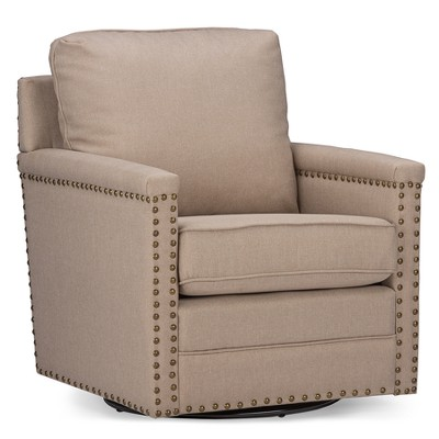 Good Ashley Modern And Contemporary Classic Retro Fabric Upholstered Swivel  Armchair With Bronze Nail Heads Trim   Baxton Studio
