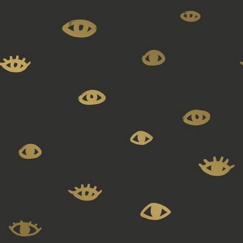 Tempaper Eye See You Self Adhesive Removable Wallpaper Black Gold Target