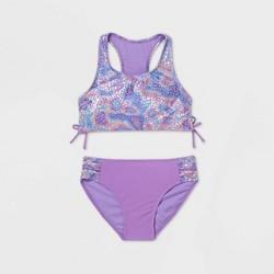 Girls' Iridescent Foil Animal Print Bikini Set - More Than Magic™ Purple