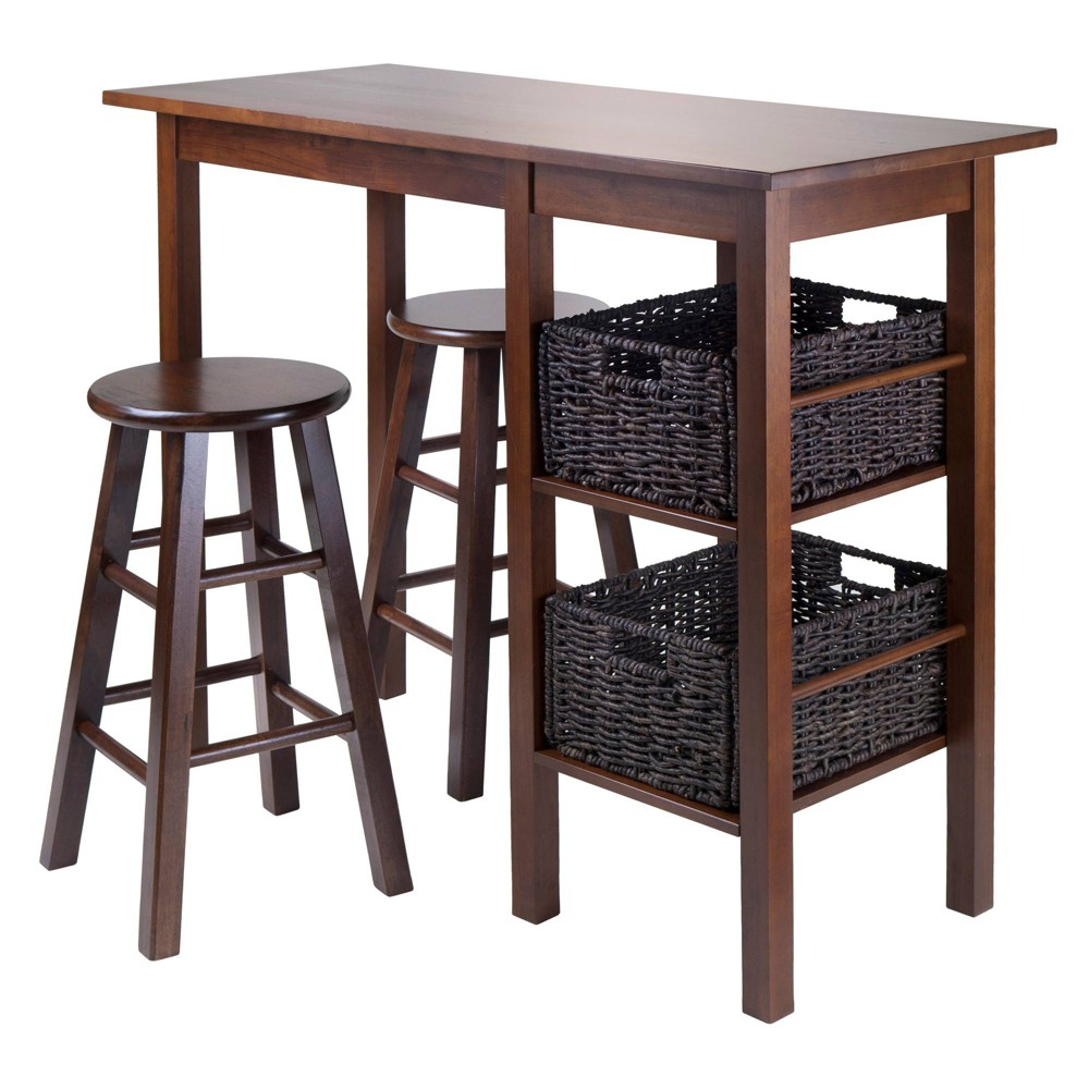 5 Piece Egan Set Breakfast Table with Basket And Counter Stools Wood/Walnut& Chocolate - Winsome, Brown