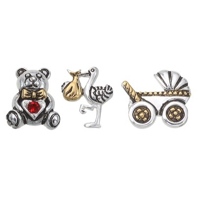 """Treasure Lockets 3 Silver Plated Charm Set with """"A New Arrival"""" Theme - Silver/Gold"""