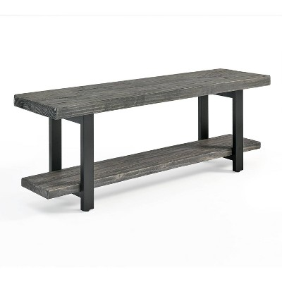 Pomona Metal and Reclaimed Wood Bench Slate Gray - Alaterre Furniture