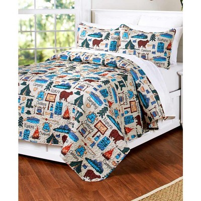 Lakeside Campsite Quilt Set with Retro Camping Print - 3-Pc.