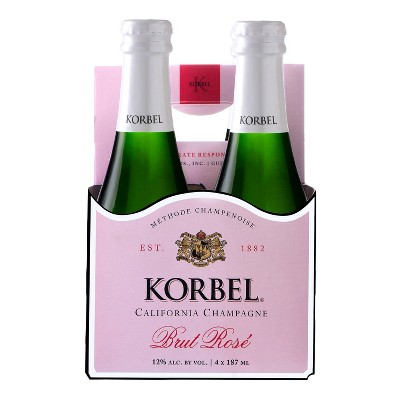 Korbel Brut Rosé Champagne - 4pk/187ml Bottles