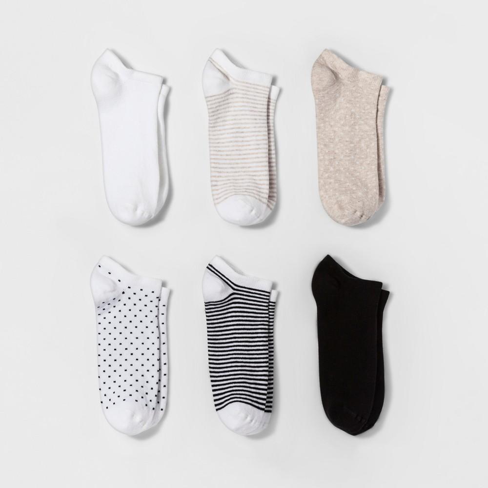 Women's 6pk Novelty Low Cut Socks - A New Day White One Size