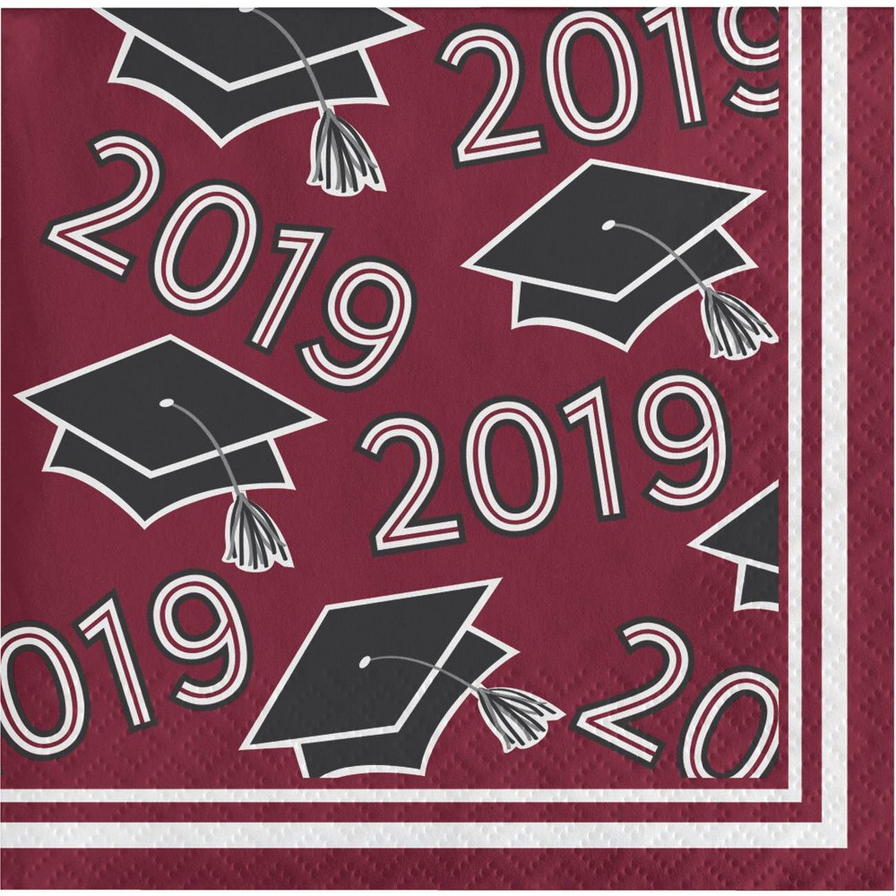 "Image of ""108ct """"Class of 2019"""" Disposable Beverage Napkins Burgundy"""