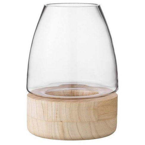 "Glass Lantern with Wood Base 15.25"" - 3R Studios® - image 1 of 1"