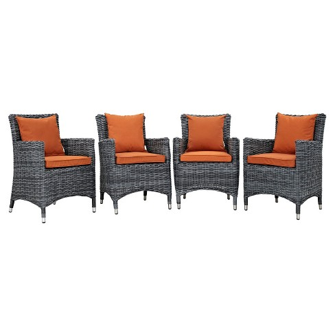 Summon 4pc All-Weather Wicker Patio Dining Set w/ Sunbrella Fabric - Canvas Tuscan - Modway - image 1 of 5