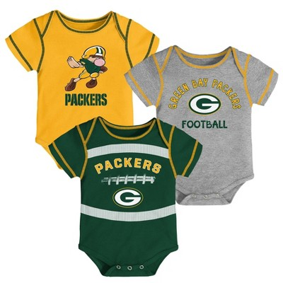 NFL Green Bay Packers Baby Boys' Newest Fan 3pk Bodysuit Set - 0-3M