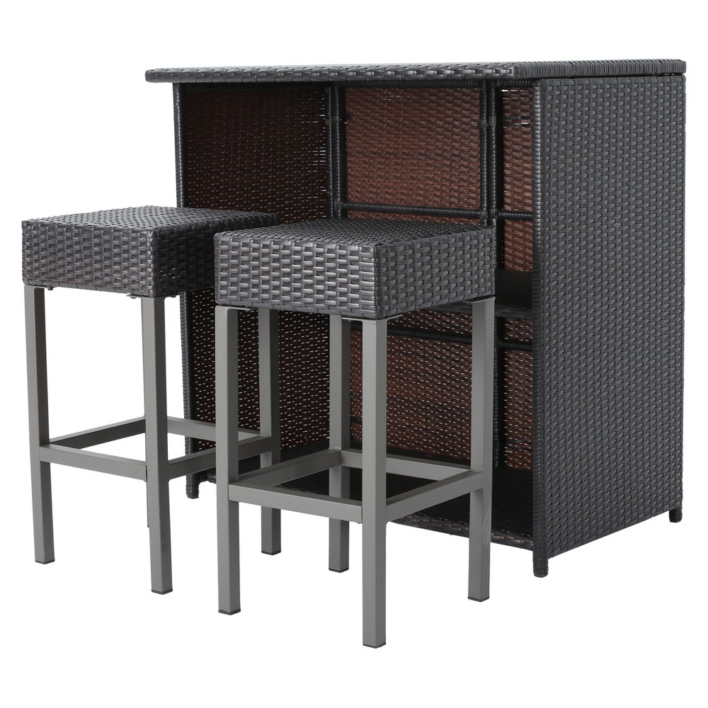 Toranto 3pc All-Weather Wicker Bar Island Set - Brown - Christopher Knight Home