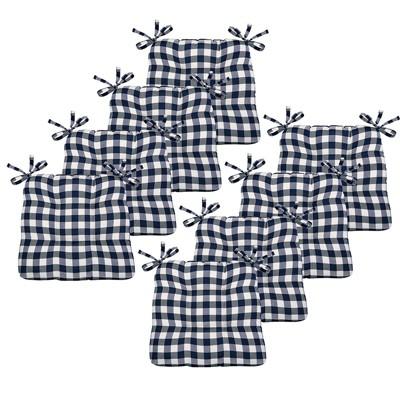Kate Aurora Country Living Gingham Plaid Checkered Country Farmhouse Chair Cushion Pads