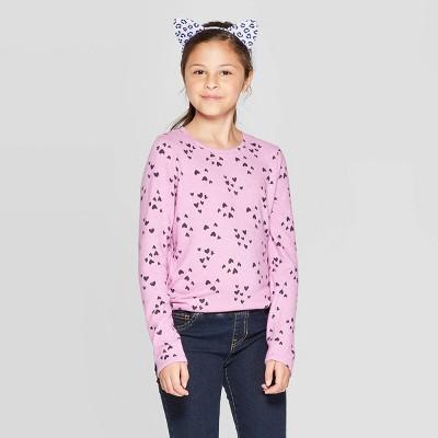 Girls' Cozy Long Sleeve Heart Print Top   Cat & Jack™ Purple by Cat & Jack