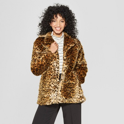 Women's Faux Fur Leopard Print Shawl Jacket   A New Day™ Tan by A New Day