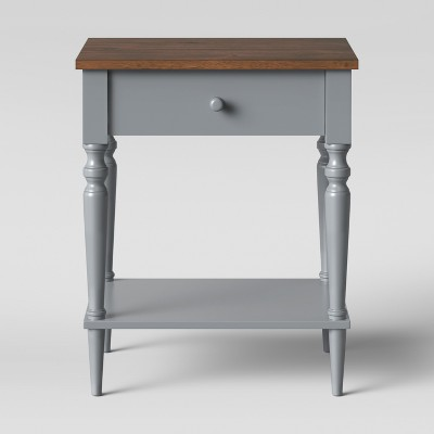 Isabella One Drawer Nightstand- Gray