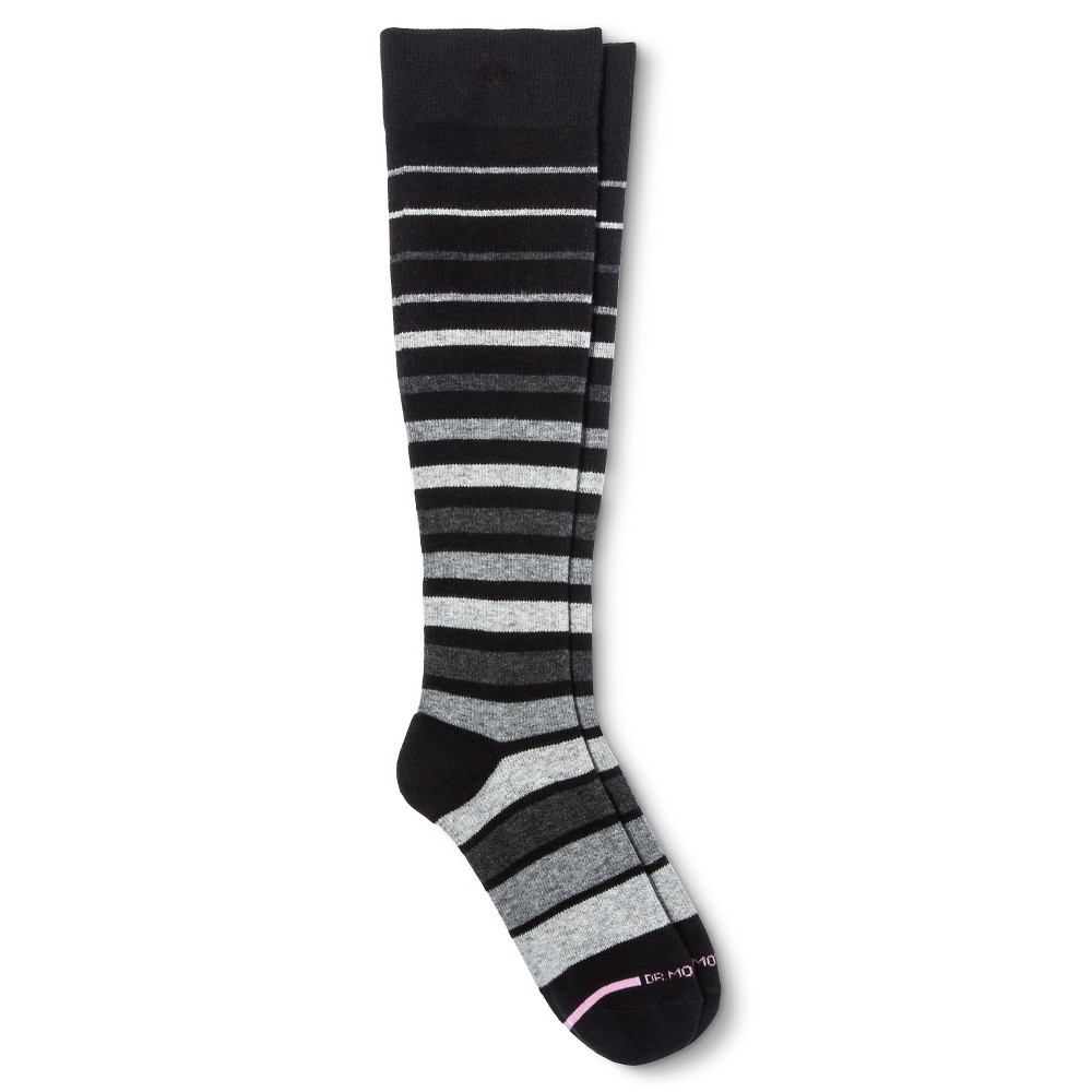 Image of Dr. Motion Women's Mild Compression Variegated Stripes Knee High Socks - Black/Gray 4-10, Size: Small