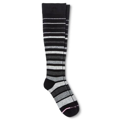 04f9596e1 Dr. Motion Women s Mild Compression Variegated Stripes Knee High Socks -  Black Gray 4-10   Target