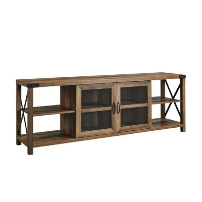 """Glass Door Industrial Farmhouse X Side TV Stand for TVs up to 80"""" - Saracina Home"""