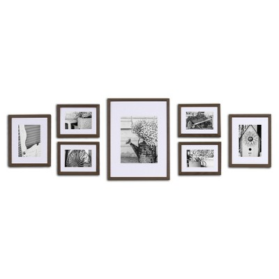 Gallery Solutions 7 Piece Wall Frame Set - Walnut