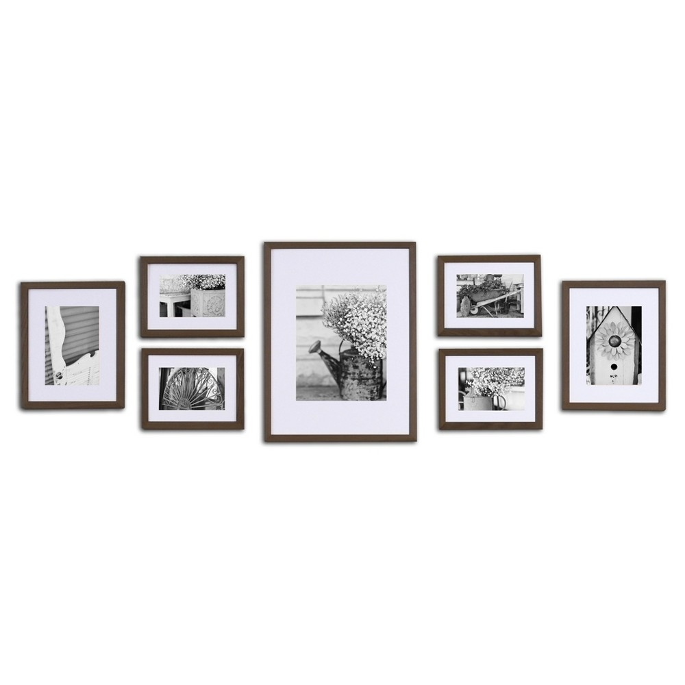 Image of Gallery Solutions 7 Piece Wall Frame Set - Walnut (Brown)
