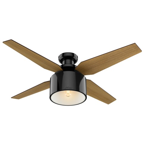 52 Cranbrook Low Profile Gloss Black Ceiling Fan With Light Handheld Remote Hunter Target