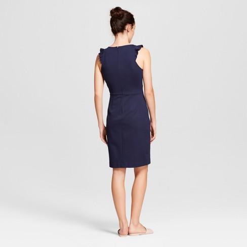 cdf58590b6f Women s Sleeveless Ponte Ruffle V-Neck Sheath Dress - A New Day ...