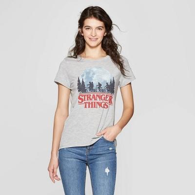 4b5b6cce19baf Women s Stranger Things Short Sleeve Logo T-Shirt - (Juniors ) - Gray