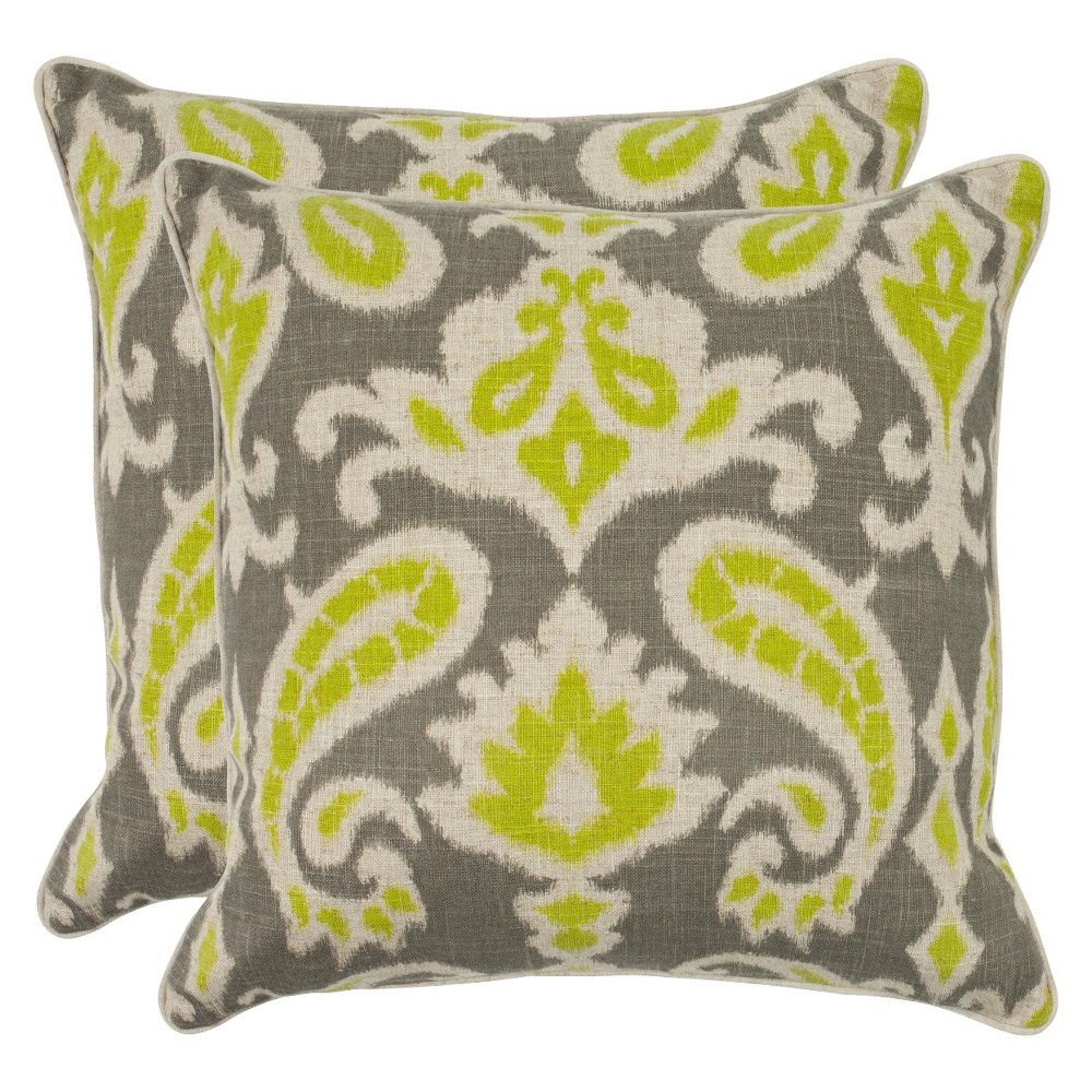 "Image of ""2pk Lime Paisley Throw Pillow 18""""x18"""" - Safavieh"""