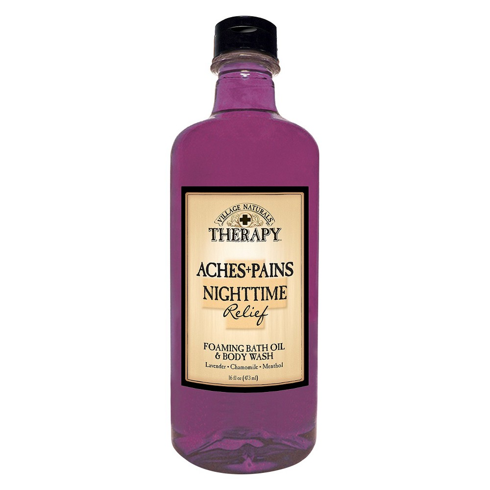 Image of Village Naturals Therapy Restless Nights Relief Foaming Bath Oil and Body Wash - 16 fl oz