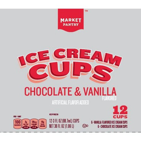 Chocolate& Vanilla Ice Cream Cups - 36 fl oz - Market Pantry™ - image 1 of 1