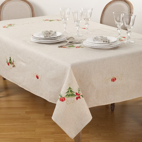 Embroidered Christmas Tablecloth - image 1 of 2