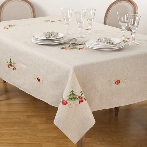 embroidered christmas tablecloth