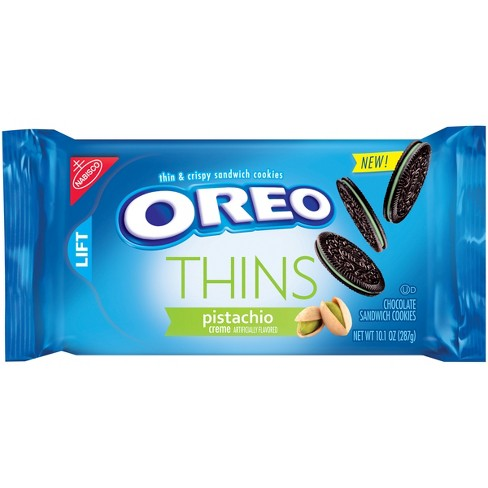 Oreo Thins Pistachio Crème Flavored Chocolate Sandwich Cookies - 10.1oz - image 1 of 2