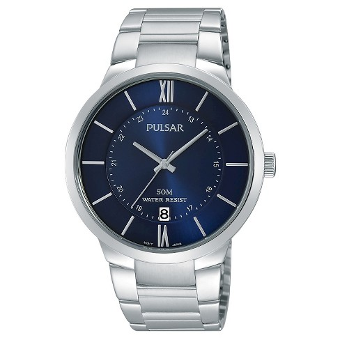 Men's Pulsar Calendar Watch - Silver Tone with Blue Dial - PS9355X - image 1 of 1