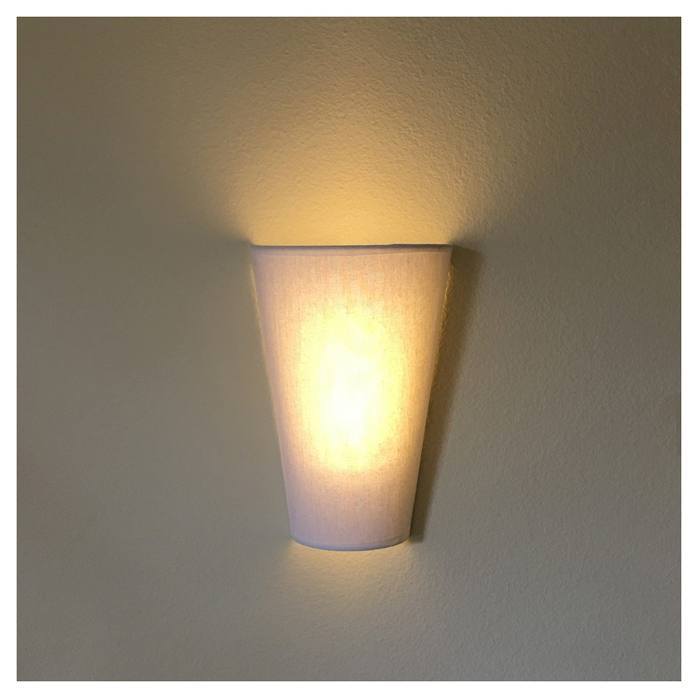 Battery-Operated White Veined Fabric Sconce