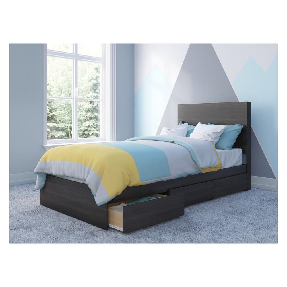 Alaska Storage Bed with Headboard Twin Black - Nexera