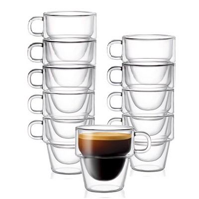 JoyJolt Stoiva Double Walled Espresso Glass Cups - Set of 8 Stackable Shot Mugs with Handle - 5 oz