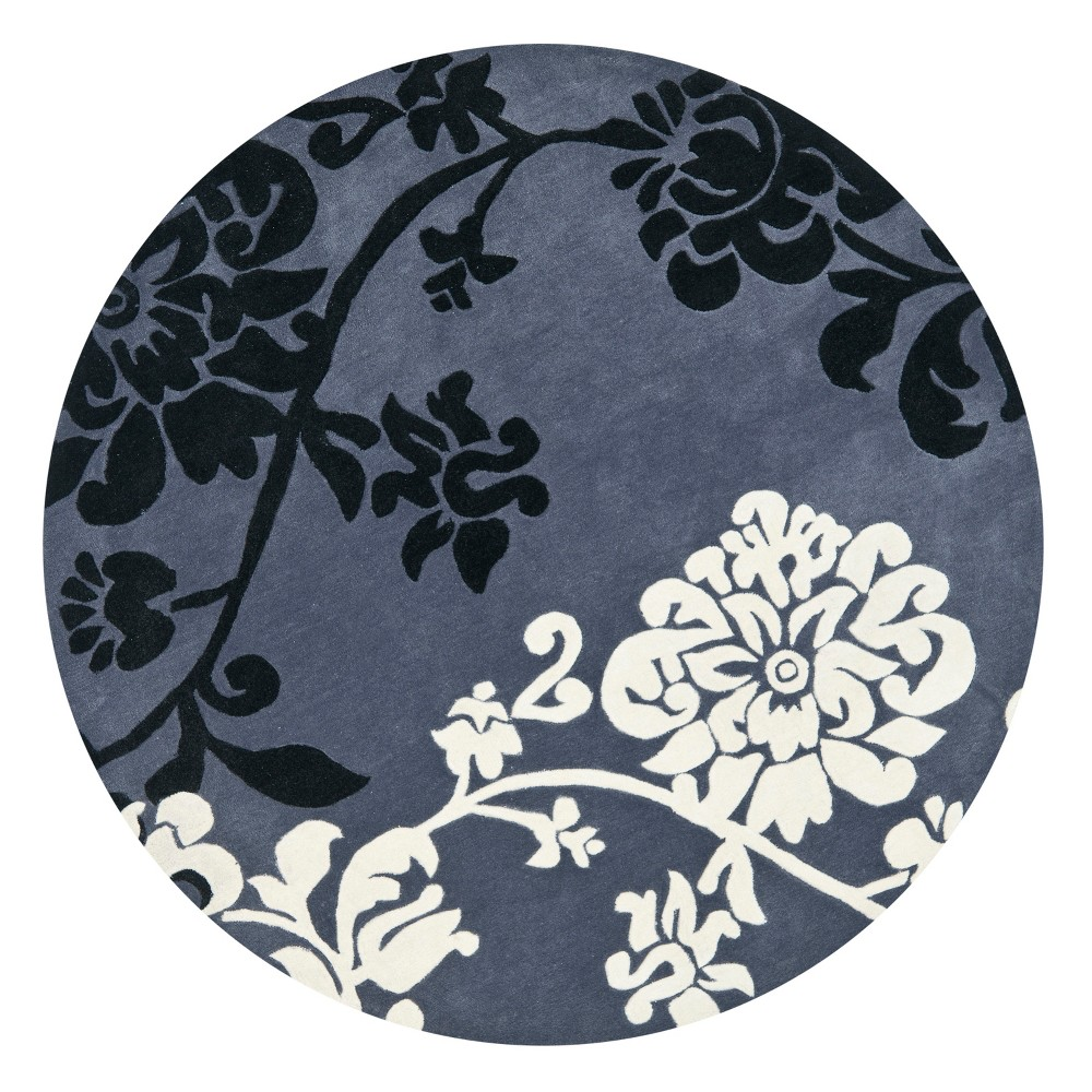 7' Floral Area Rug Dark Gray - Safavieh, Gray White
