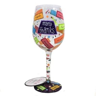 "Tabletop 9.0"" Many Thanks Wine Glass Lolita Hand Painted Enesco  -  Drinkware"