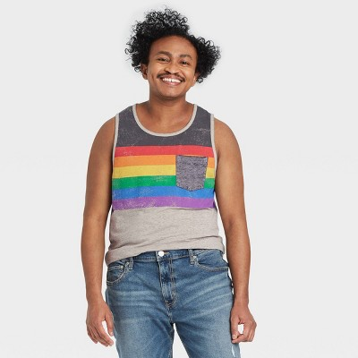 Pride Gender Inclusive Adult Burnout Striped Tank Top - Gray