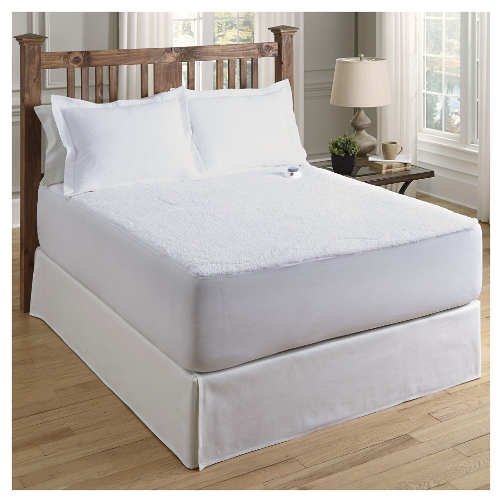 Sherpa Warming Mattress Pad (Cal King ) White - Soft Heat