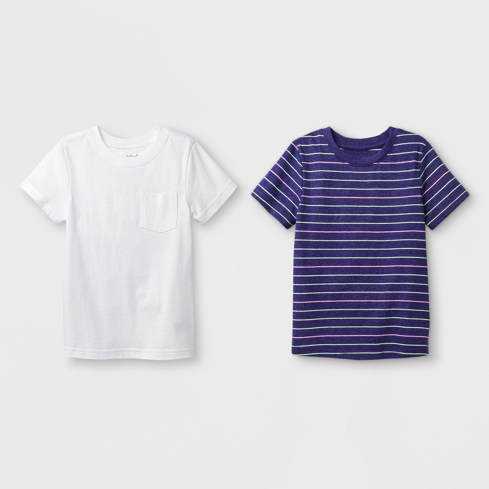 Toddler Boys' 2pk Short Sleeve T-Shirt - Cat & Jack Purple Stripe/White 12M