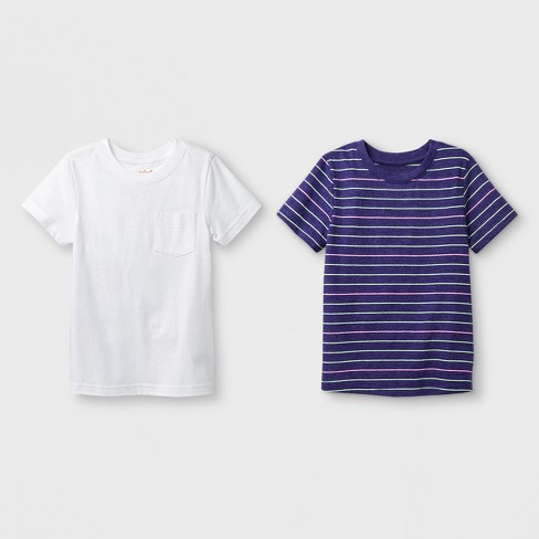 Toddler Boys' 2pk Short Sleeve T-Shirt - Cat & Jack™ Purple Stripe/White - image 1 of 1