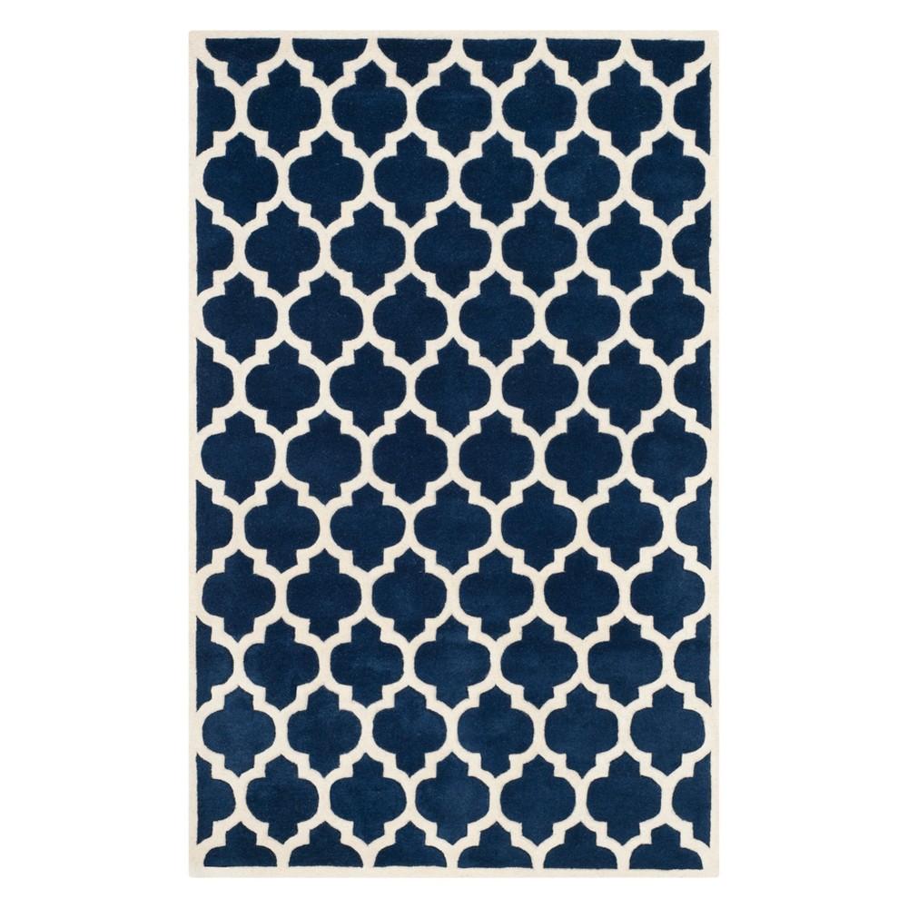 5 X8 Quatrefoil Design Tufted Area Rug Dark Blue Ivory Safavieh
