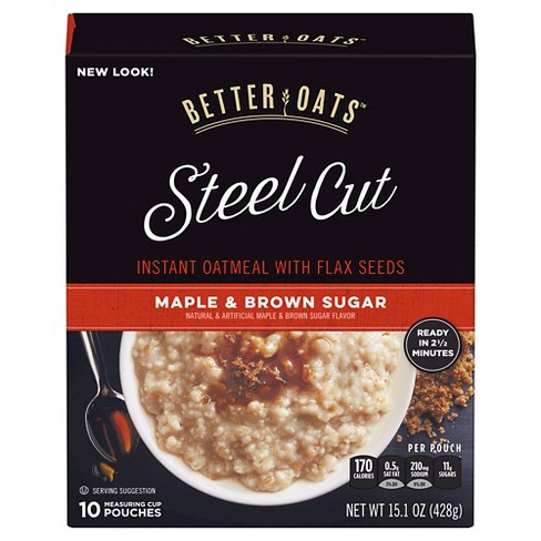 Better Oats Revolution! Steel Cut Oats Maple & Brown Sugar Oatmeal - 10ct - image 1 of 1